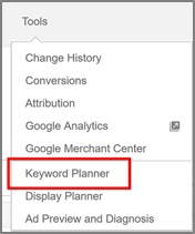Accessing Keyword Planner