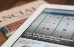 Newspaper and tablet headlines