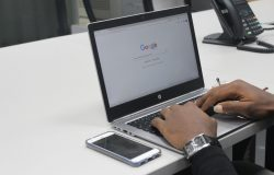 Man searching for information on Google
